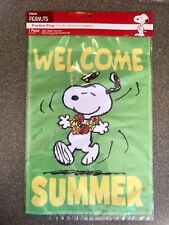 """Welcome Summer! Peanuts Snoopy Garden Flag - 12""""X18"""" - New!"""
