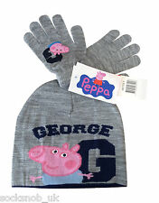 Peppa Pig-Chicos De Lujo George Knitted Gorro Y Guantes Set Gris 3-8 Años