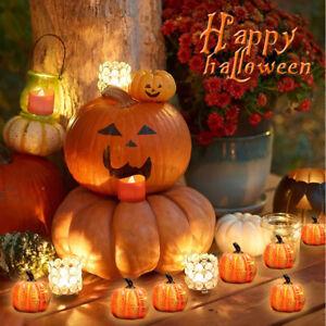 LED Pumpkin Lights Table Halloween Lantern Tea Light Party Garden Decor Battery