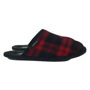 Minnetonka Mens Franklin 419315-21 Slip On Red Black Moccasin Slippers Sz US 13