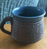 Vintage Pottery Stoneware Blue Brown Coffee Mug Small 4oz.