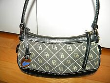 Dooney and Bourke Small Signature Black Leather trim and gray purse ~ XLNT!