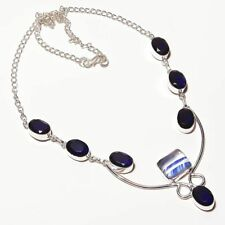 Trendy!! Dichroic Glass and Tanzanite Quartz Silver Plated Handmade Necklace 18""