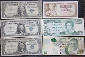 lot of 6 World mixed & US $1 Dollar SILVER Certificates Banknotes paper money