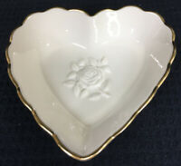 Lenox Special Heart Embossed Rose Trinket Dish With Gold Tone Scallops USA