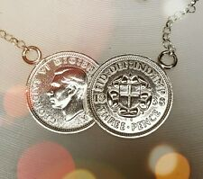 Double Lucky threepence Coin Necklace With Sterling Silver Chain