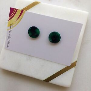 Green Tones Resin Acetate Stainless Steel Stud Fashion Statement Earrings