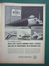 2/1959 PUB NORTHROP INTERNATIONAL N-156F USAF FIGHTER MACH 2 ORIGINAL AD