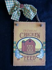 CHICKEN FEED WALL PLAQUE Premium Red Barn 1995 Tender Heart Farm Country