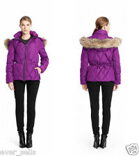 NWT $428 S COACH Women Down Real Fur Hooded SHORT PUFFER Coat Parka Jacket 84047