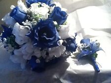Royal Blue And White Wedding bouquet with boutonniere to match. RUSH ORDERS AVAI