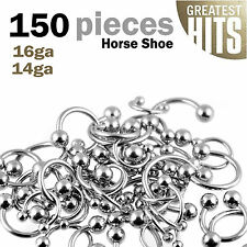 150pcs Lot Septum Ring U Shape Surgical Steel Horse shoe Body Jewelry Piercing
