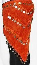 Orange Gothic Belly Dancing Burlesque Coin Hip Scarf Belt Wrap Costume Sarong