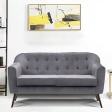 Two Seat Button Accent Tub Bucket Sofas Love Seat Armchair Grey Velvet 2 Seaters