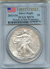 2013 S Silver American Eagle Dollar MS70 PCGS Certified Coin San Francisco FS