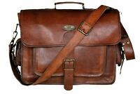 Leather Messenger Shoulder Laptop Bag Briefcase Men Women Genuine Vintage Brown