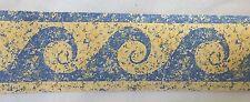 "Swirl Wave Wallpaper Border Blue Yellow Paint Speckles Splatter 2 3/4"""