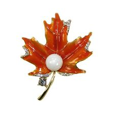 Orange Enamel Maple Leaf Brooch Pin with Crystals and Faux Pearl - New