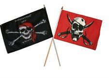 "12x18 12""x18"" Wholesale Combo Pirate Surrender Booty & Crimson Skull Stick Flag"