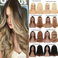 Ombre Black Blonde Long Hair Curly Wavy Full Wig 100% Real Remy Human Hair Wigs