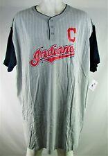 Cleveland Indians MLB Majestic Men's Grey Pinstripe Henley
