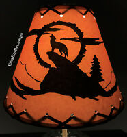 """Coyote Dog Table Light Cabin Cottage LAMP SHADE Clip-On Bulb Style 9"""" Laced Cone"""