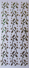 DIAMOND HOLOGRAPHIC SHIMMER HOLLY BORDERS GREEN PEEL OFF STICKERS CARDMAKING