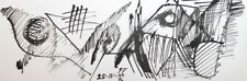 Abstract Cubism Avant Garde Ink Painting Signed