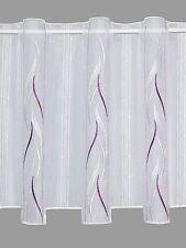 Kurzgardine Panneau Stickereigardine Scheibengardine Alice weiß-lila in 3 Höhen