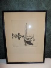 "Lionel Barrymore Etching Print ""Quiet Waters""  16"" X 12"""