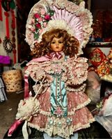 Pat Loveless Pink Lace Bru Jne Antique Victorian Reproduction French Doll  26""