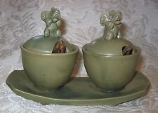 NWOT ~ Green Porcelain Elephant Twin Condiment Server w/ Spoons