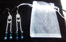Multi Colored Bead Earrings Beautiful Handmade Sterling Silver
