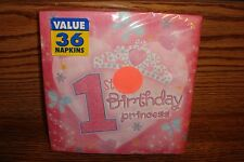 "1st Birthday PRINCESS Birthday Party 12 7/8"" in. Luncheon NAPKINS 36 CT * NEW"