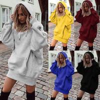 AU Women Ladies Casual Sweatshirt Long Sleeve Sweater Hoodie Jumper Mini Dress