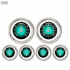 6 Gauge Set Speedo Tacho Oil Temp Fuel Volt Pulsar Aqua Silver LED 043-WC SAE
