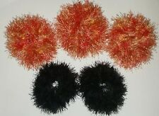 NEW LOT OF 5 DELUXE HALLOWEEN CROCHET HAIR SCRUNCHIES EYELASH YARN ORANGE BLACK
