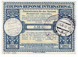 Bohemia & Mähren Ias 2 International Antwortschein Prague 1940