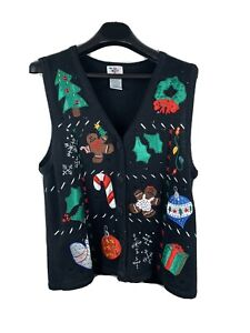 CHRISTMAS XMAS SWEATER Black Red Cardigan Vest BEARS TREE GIFT L