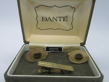 Dante Genuine Tiger Eye Cufflinks & Tie Clip