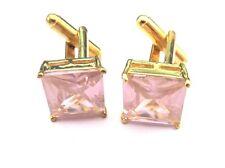 Ladies Pink Stone Square Gold Cufflinks