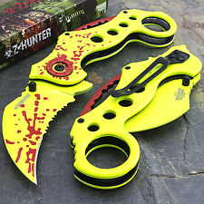 "8"" KARAMBIT ZOMBIE HUNTER APOCALYPSE SPRING ASSISTED FOLDING POCKET KNIFE Open"