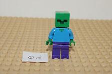 LEGO MINECRAFT Minifigure / Minifig - ZOMBIE STEVE (Q12) Genuine