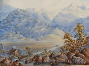 WATERCOLOUR THE GLEN MONOGRAMMED AM 1863 FREE SHIPPING TO ENGLAND