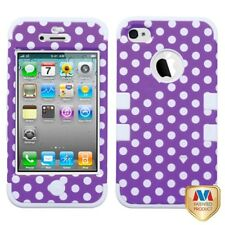 Apple iPhone 5 Rubber IMPACT TUFF HYBRID Case Skin Phone Cover Purple White Dots