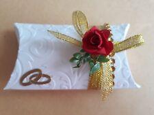 Gastgeschenke Mandeln Hochzeit, Gold Tischdeko mit 5 Mandeln gefüllt und Spruch