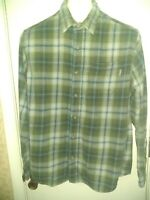 Eddie Bauer Shirt Men's Long Sleeve Button Down green Plaid Flannel Size Large