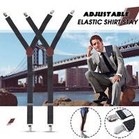 Pair Y-Style Shirt Stay Adjustable Elastic Garter Strap Non-slip Uniform Clamps