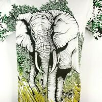 Elephant T Shirt Vintage 90s All Over Print Jungle Made In USA Size Medium
