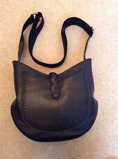 Black Leather Bucket Style Handbag
